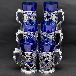 Vintage Art Deco Chrome Nude Lady Handle 6x Novelty Irish Coffee Glasses Mug Set