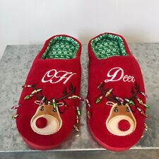 "Christmas Red ""Oh Deer"" Slip On Clog Style Slippers Size 8 (Medium)"