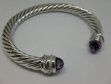 David Yurman 7mm Cable Classic Crossover Bracelet with Amethyst and Diamonds