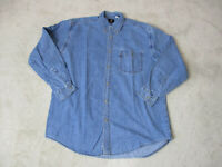 VINTAGE Levis Button Up Shirt Adult Large Blue Red Tab Long Sleeve Mens 90s