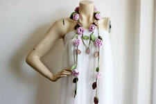Pink Rose Scarf-Crochet Scarf-Pastel Rose Scarf with Green and Brown Leaves