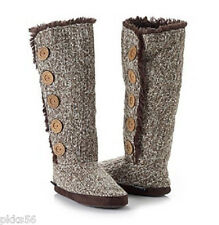 NWT MUKLUKS Malena Fur Lined Button Up Slipper Boots BOOT size S 5 - 6 BROWN