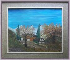 ARTE NAIF primavera in montagna olio tela dell'82 firma Tiziano Gini cornice