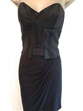 Womens Karen Millen Corset Jersey Draped Dress Cocktail Party Ladies UK Sz 8 Black