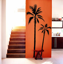 SUPER LARGE PALM  TREE (2) DECALS - WALL VINYL DIE CUT COCONUT PALMIER STICKER