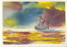 """Original ship watercolour seascape/ boat painting, titled """"Thames Barge."""""""