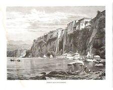 Stampa antica SORRENTO Casa di Torquato Tasso Napoli 1880 Old print Engraving