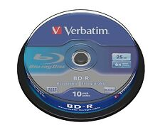 Verbatim BD-R 25gb 6x Velocidad Grabable Blu-ray Discos Spindle Pack 10 (43742)