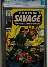 CAPTAIN SAVAGE AND HIS BATTLEFIELD RAIDERS #9 CGC 9.4 NEAR MINT 1968 MARVEL OW