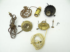 New listing Mixed Used Lot Metal Brass Converted Oil Lamp Burners Parts Electric Light Parts
