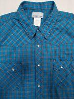 Wrangler Wrancher Western Pearl Snap Blue Plaid L/S Shirt Men's Size 2XL XXL