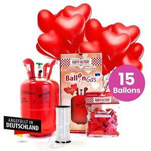 """Ballongas Helium Set """"Herz Edition"""" inkl. 15 Herzballons Helium Ballongas"""