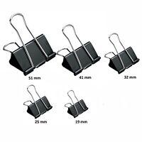 10 x Bulldog Foldback Clips 51 ,41, 32, 25, 19 mm Size Metal Binder Grip Clip