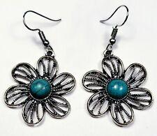 New Turquoise Flower Daisey Drop Earrings - Hook - Us Seller