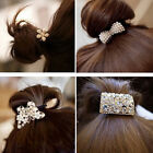 Crystal Rhinestone Pearl Flower Hair Band Rope Elastic Ponytail Holder NEW Hot