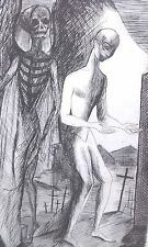 Ange démon la MORT GRAVURE originale Jean DEVILLE SONNETS et STANCES 1946