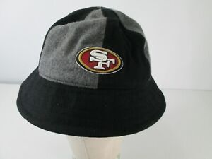 San Francisco 49ers Bucket Hat 6 Panel Cap Black Gray Wool Blend S/M Football