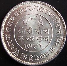 KUTCH BHUJ STATE 5 KORI SILVER COIN - KING GEORGE V/KHENGARJI III-1934 (VS1991)