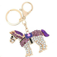 Keyring Purse Bag Key Chain Crystal Charms Pendant Rhinestone Horse Key Chain