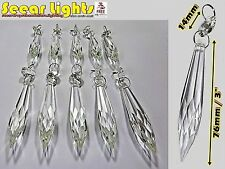 """10 CHANDELIER LIGHT PARTS GLASS CRYSTALS 3"""" POINTY ICICLES DROPS PRISM DROPLETS"""