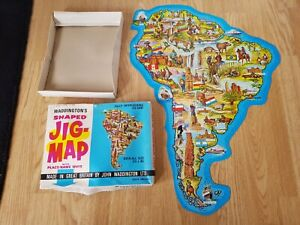 SOUTH AMERICA Shaped JIG MAP No. 558 John WADDINGTON Vintage 60s JIGSAW Complete