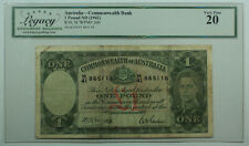 1942 Australia Commonwealth Bank 1 Pound Nd Currency Note Legacy Vf-20