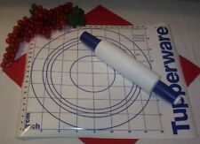Tupperware BLUE ~Speckled fillable Rolling Pin ~Simply Perfect Pastry Mat Sheet