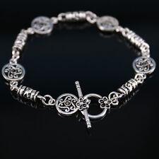 Vintage Womens Mens Tibetan Silver Engraved Beaded Bangle Chain Bracelet Jewelry