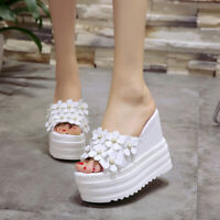 Womens 14cm Open Toe Wedge High Heel Platform Pearl Flower Slippers Casual Shoes