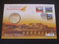 Guernsey 1997 coin cover pnc featuring the Castle Cornet and includes £5 coin.
