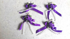 4 Purple Triple Rose Ribbon Bows with Pearl Bead Trim