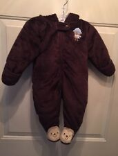 Carters Just One You, Baby Brown One Piece Velour Snowsuit Fall/Winter. Sz 6 Mo.