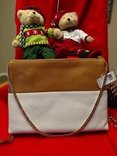 NWT Coach Lg Highrise Camel White Leather Shoulder Bag Gold Chain 30374