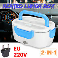 Portable 12V Car Adapter Plug Electric Lunch Box Heated Food Warmer Bento Case