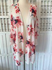 Peach Love women's medium cold shoulder floral kimono, white, pink, Z21