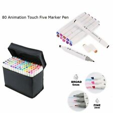80 Color Set Markers Pen Touch New Five Graphic Art Sketch Twin Tip Free Glove