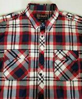 Blac Lacquer Men's 4XL Red White Blue Plaid Cotton Poly Long Sleeve Button Shirt