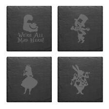 Alice In Wonder Land Rabbit Mad Hatter Schiefer matt Gravur Set 4 Untersetzer