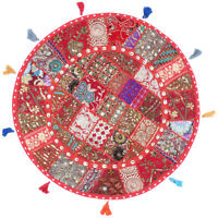Red Round Patchwork Floor Cushion Cover Seating Meditation Pillow Throw Cover 28