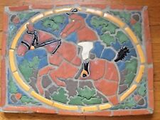 Equestrian Horse Mosaic Tile Art Concrete Jumper Hunter Artisan Signed 1982 Fine