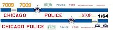 CHICAGO Police Car 1/64th HO Scale Slot Car Waterslide Decals