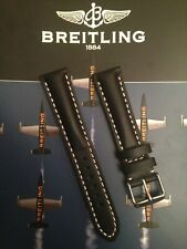 Genuine Leather 20mm Heavy Padded Watch Strap For Breitling Watches Black