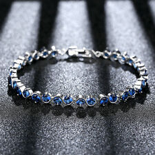 Fashion Womens White Gold Filled Blue Crystal Sapphire Chain Charm Bracelet
