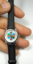 Southwestern Multicolor Inlay & Mother of Pearl Black Leather Ladies Wrist Watch