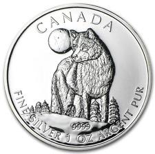 5 dollars LOUP Wildlife Maple Leaf pièce argent 1oz $ 1 once 999 Lingot Canada