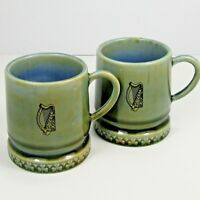 Wade Irish Porcelain Child's Tankards Mugs Harp Motif Set of 2 Ireland Vintage