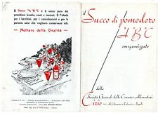 CIRIO  SUCCO POMODORO ABC BROCHURE 1939 CUCINA CULINARIA COMPOSIZIONE VITAMINE