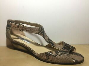 Jimmy Choo Embossed Snake Leather Peep Toe Wedge Strap Sandal EUR 40 US 9.5
