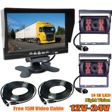 """4Pin Bus Caravan Truck Rear View Dual Reversing Camera Kit 7"""" HD Car Monitor"""