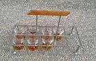 Service à liqueur plateau en verre et métal 7 art deco 1950 French antique